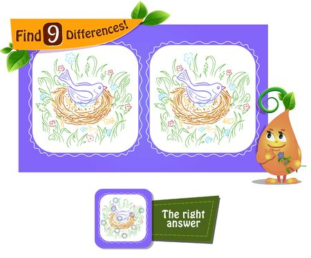 visual game for children and adults. Task game to find 9 differences.  Ilustrace