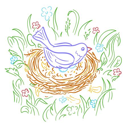 Illustration of a bird in a nest on eggs. Isolated icon, silhouette in linear style.