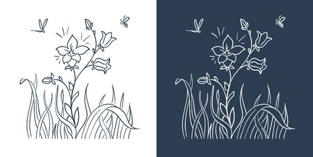 blooming flower black and white illustration. Isolated icon, silhouette in linear style.