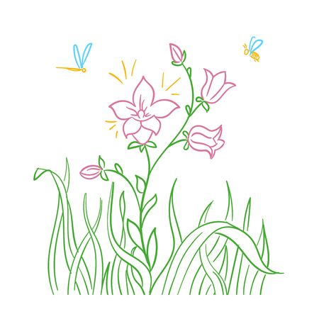 blooming flower illustration. Isolated icon in linear style.