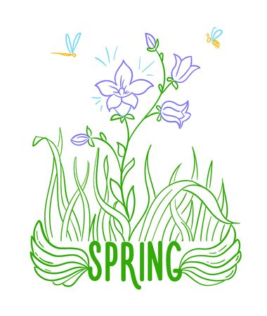 concept of the arrival of spring in the form of a blooming flower. Isolated icon in linear style.
