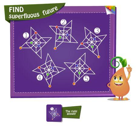Visual Game for children and adults. Development of logic, iq. Task game find superfluous figure Illusztráció