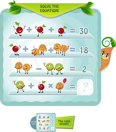 Math educational game for kids and adults development logic, iq. Thinking Puzzles . Task game solve the equation