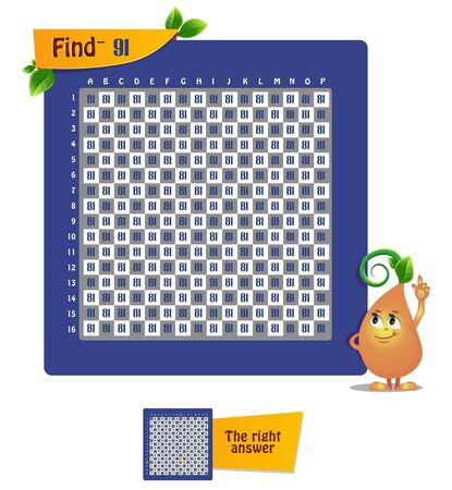 educational game for children and adults. Game account, observation, iq. Task game find the number 91