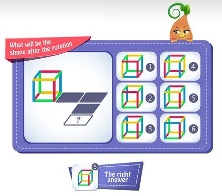 Lernspiel für Kinder und Erwachsene Entwicklung der mentalen Rotationsfähigkeiten, iq. Denkrätsel. Aufgabenspiel was wird die Form nach der Drehung sein?