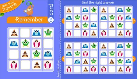 memory training for children and adults.  task of the game is to remember, find the right answer Ilustrace