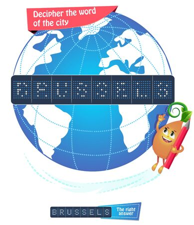 Visual game, brainteaser  for children and adults. Task game decipher the word of the city