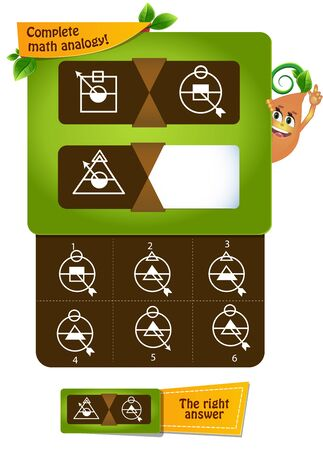 educational game, brainteaser for kids and adults development of logic, iq. Complete math analogy Vettoriali