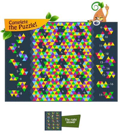 educational game iq for kids and adults development of logic, iq, attention. Task complete the puzzle