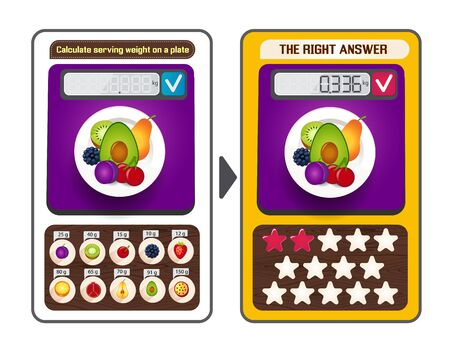Educational puzzle game, web brainteaser for children and adults. Game tasks the calculate serving weight on each plate Çizim