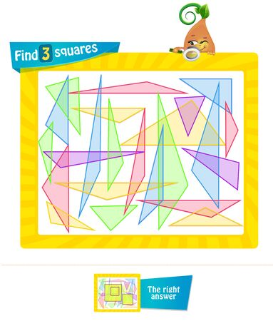 educational game for kids and adults development of attention, iq. Task game for children find 3 squares Illustration