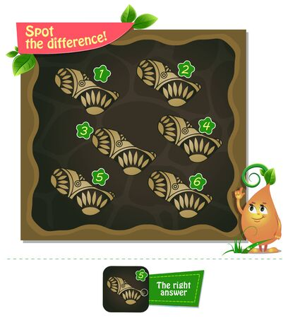 visual educational game, brainteaser for kids and adults. Task game spot the difference Illustration