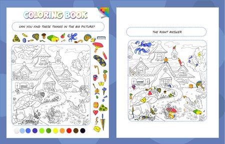 Malbuchspiel für Kinder und Erwachsene. Puzzle versteckte Gegenstände. Die Aufgabe des Spiels ist es, Objekte im Bild zu finden und zu malen. Märchenhaus mit einem Gnom