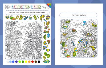 Coloring book game for kids and adults. Puzzle Hidden Items. The task of the game, find objects in the picture. Sea bottom with fish, algae and corals Vektoros illusztráció