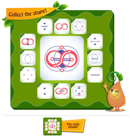 educational game, brainteaser for kids and adults. development of logic, iq. Task game collect the shape Illustration