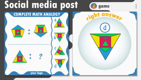 social media post template with a game, a brainteaser to attract the target audience. Suitable for social media posts, mobile apps, cards, invitations, banners design and web / internet ads.