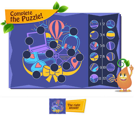 educational game for children and adults to develop attention. Task game complete the puzzle. Vettoriali