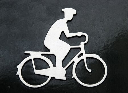 the picture of cycling man. sign photo