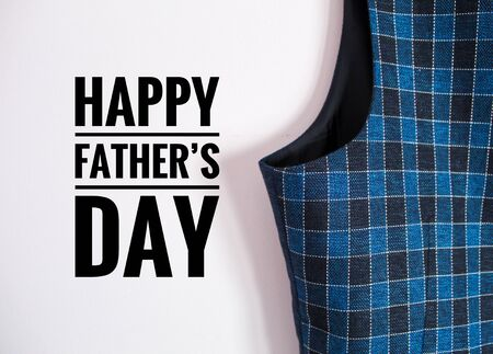 Text image of a male sleeveless plaid jacket with congratulatory message for Father's Day