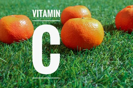image of tangerines with text contain vitamin c