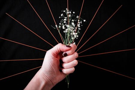 Pop art photograph of a hand holding a bouquet of dried flowers in the center of the composition as an ideal offering for womens day