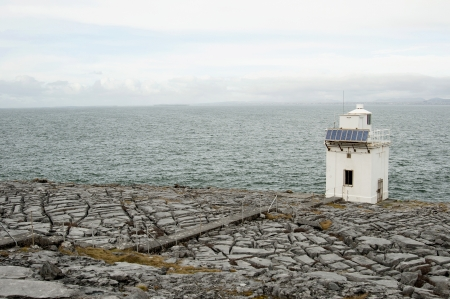 burren: Blackhead lighthouse is a beautiful lighthouse located right on the coast, in the burren, Co  Clare  Stock Photo