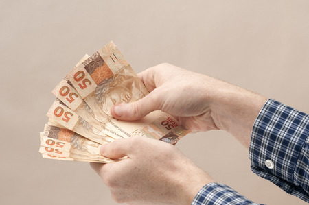 bankroll: Brazilian Currency - Real Stock Photo