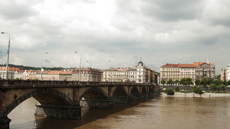 cz: The Palacky Bridge (1876) is a bridge in Prague. It is one of the oldest functioning bridges over the Vltava in Prague after the Charles Bridge. Designed by Rowland Mason Ordish.