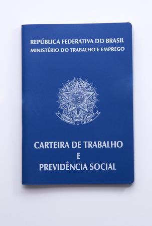 seguridad social: Brazilian work document and social security document (carteira de trabalho) on white background
