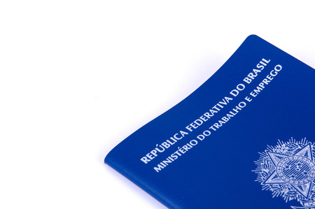 Brazilian work document and social security document (carteira de trabalho) on white background