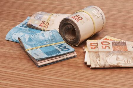 A few bills of brazilian currency (real) Stock Photo