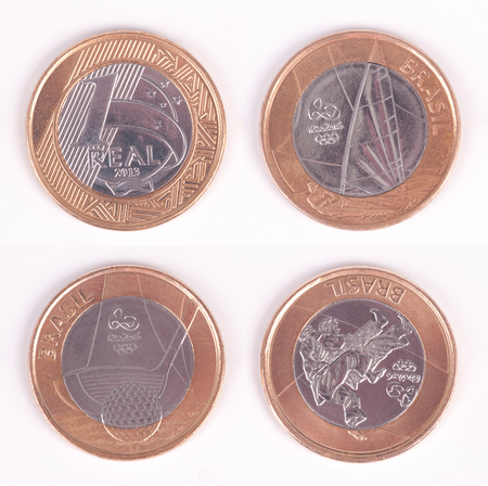 paralympic: Olympiad Coin  Brazilian Olympic Coin  Golf, Sail and Judo Editorial