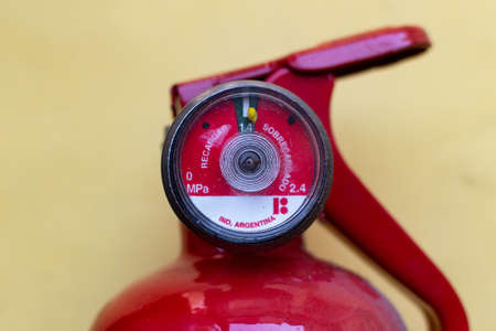 Valve of red fire extinguisher Stock fotó