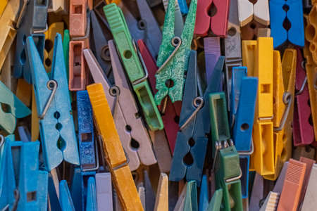 Close-up of colorful clothes pegs
