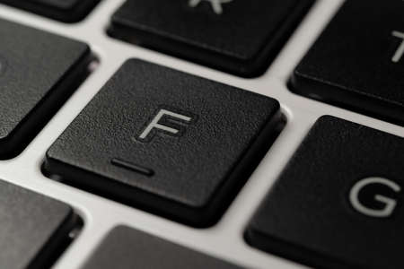 Close-up of an F Key of a Laptop Notebook Keyboard