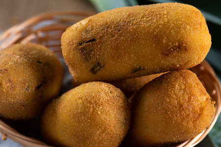 Fried cheese croquette. Brazilian snack.