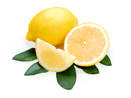 fresh lemon citrus with cut and green leaves isolated on white background Stock Photo - 14384408