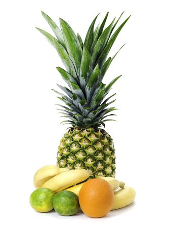 set of fruit: ananas, bananas, limes and orange isolated on white