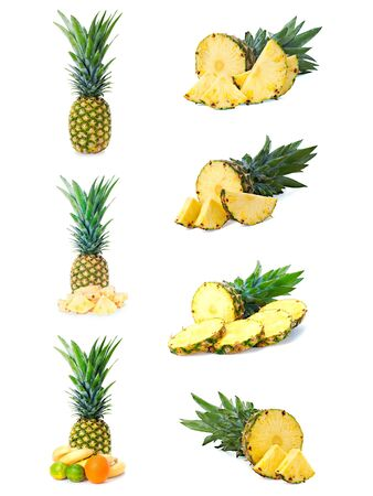 set of  fresh pineapple fruits with cut isolated on white background  photo