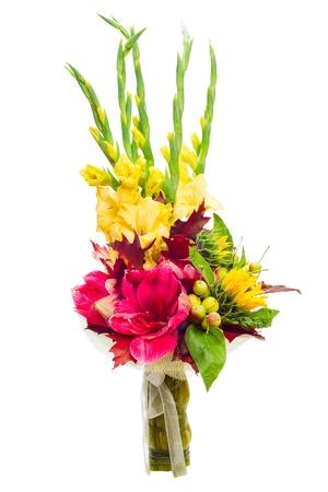 flores de cumpleaños: ramo colorido arreglo floral central de gladiolos aislados sobre fondo blanco Foto de archivo