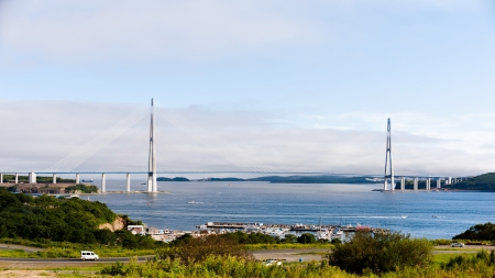 longest cable-stayed bridge in the world in the Russian Vladivostok over the Eastern Bosphorus strait to the Russky Island