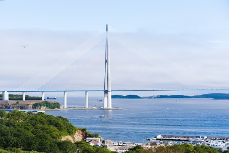 longest cable-stayed bridge in the world in the Russian Vladivostok over the Eastern Bosphorus strait to the Russky Island  photo