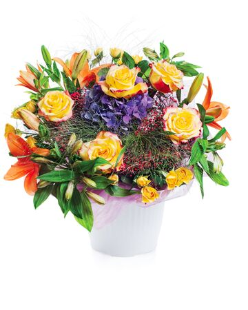 colorful flower bouquet arrangement centerpiece in vase isolated on white background Stock Photo - 15797937