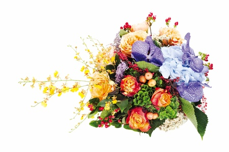colorful floral  bouquet of roses, lilies, freesia, orchids and irises isolated on white background photo