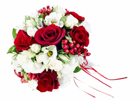 colorful flower wedding bouquet for bride isolated on white background photo