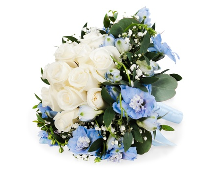 dark green background: colorful floral bouquet from white roses and delphinium isolated on white background
