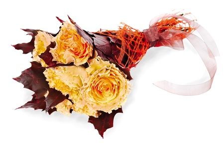 colorful autumn flower bouquet  from yellow roses and maple leaves isolated on white background Stock Photo - 16083160