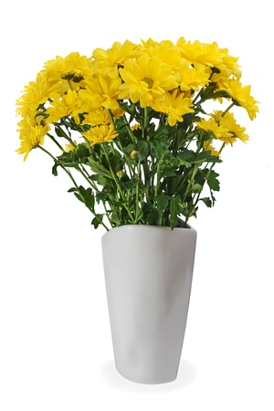 colorful autumn yellow flower bouquet arrangement centerpiece in vase isolated on white background photo