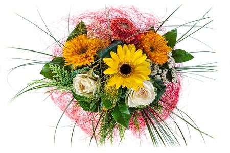 colorful floral bouquet of roses and sunflowers isolated on white background photo