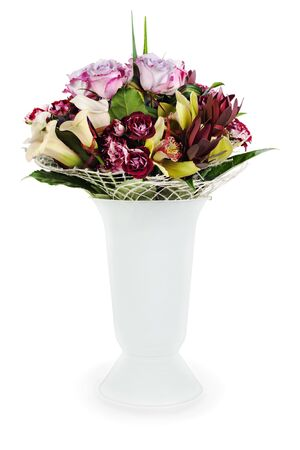 colorful floral bouquet of roses, lilies and orchids arrangement centerpiece in vase isolated on white background Stock Photo - 16242121